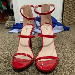 Qupid Red Strappy Heels